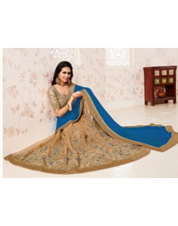 Ethnic Wear Blue & Beige Saree  - BELA-12248