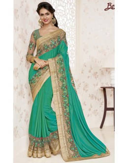 Party Wear Green Crepe Chiffon Saree  - BELA-12250