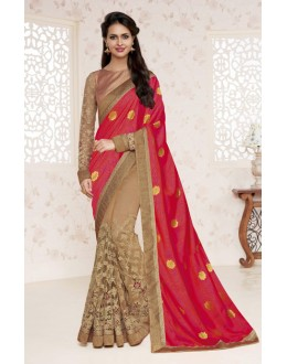Ethnic Wear Red & Beige Saree  - BELA-12253