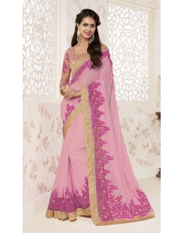 Wedding Wear Ligh Pink Shine Georgette Saree  - BELA-12255