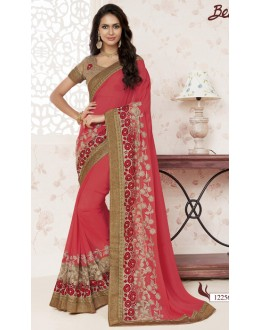 Georgette Red Designer Saree  - BELA-12256