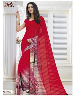 Ethnic Wear Red Marble Gerogette Saree  - BELA-12330-A