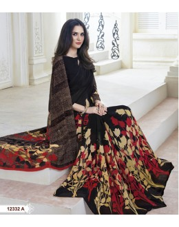 Casual Wear Black Marble Gerogette Saree  - BELA-12332-A