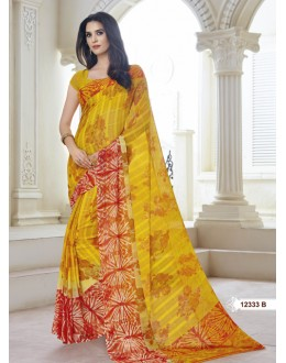 Ethnic Wear Yellow Marble Gerogette Saree  - BELA-12333-B