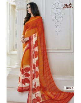 Party Wear Multi-Colour Marble Gerogette Saree  - BELA-12336-B