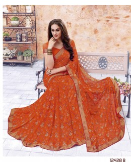 Casual Wear Orange Georgette Saree  - 12420-B