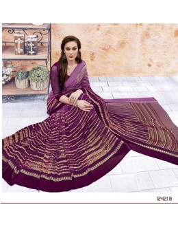 Ethnic Wear Purple Georgette Saree  - 12421-B