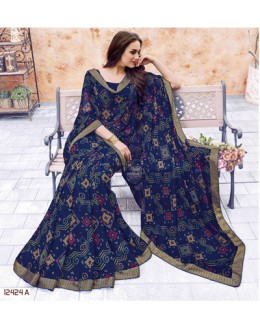 Navy Blue Colour Georgette Printed Saree  - 12424-A