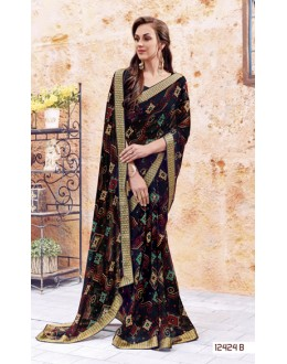 Ethnic Wear Black Georgette Saree  - 12424-B