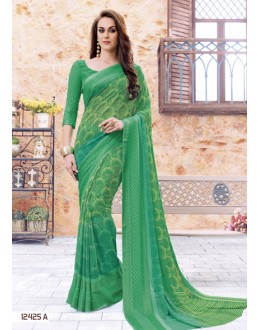 Festival Wear Green Georgette Saree  - 12425-A