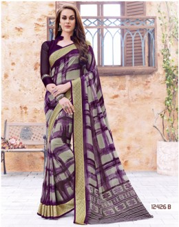 Party Wear Multi-Colour Georgette Saree  - 124256-B