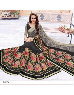Party Wear Black Georgette Saree  - 12427-A