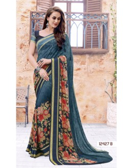 Festival Wear Grey Georgette Saree  - 12427-B