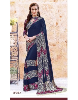 Party Wear Navy Blue Georgette Saree  - 12428-A