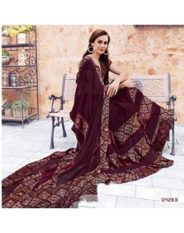 Festival Wear Maroon Georgette Saree  - 12428-B