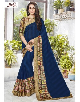 Party Wear Blue Faux Georgette Saree  - 12470
