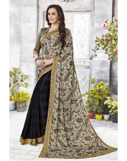 Ethnic Wear Multi-Colour Half & Half Saree  - 12472