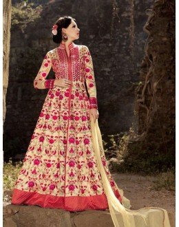 Bridal Wear Beige Australian Silk Anarkali Suit - 1576