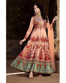 Festival Wear Peach Banarasi Silk Anarkali Suit - 1579