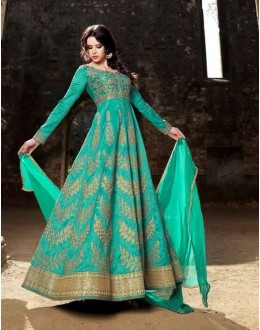 Festival Wear Green Australian Silk Anarkali Suit - 1582
