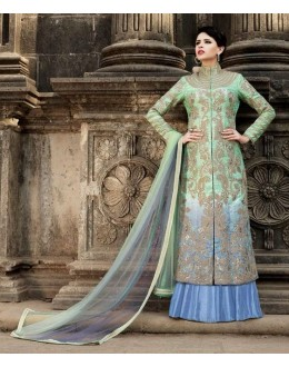 Festival Wear Green Australian Silk Lehenga Suit - 1583