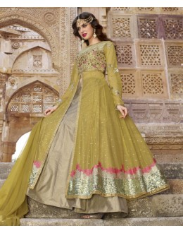 Ethnic Wear Green Net Slit Lehenga Suit  - 1442