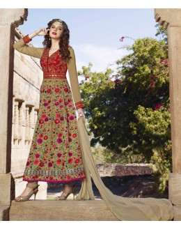 Festival Wear Indo Silk Anarkali Suit  - 1444-A
