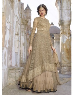 Party Wear Beige Net Anarkali Suit  - 1448