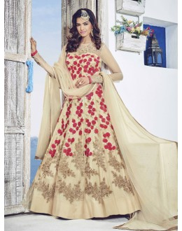 Festival Wear Beige Net Anarkali Suit  - 1531