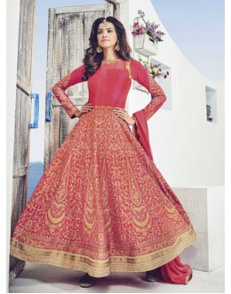 Festival Wear Red Raw Silk Anarkali Suit  - 1534-A