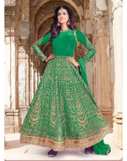 Party Wear Green Raw Silk Anarkali Suit  - 1534-B