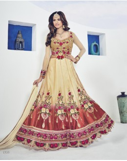 Wedding Wear Beige Net Embroidery Anarkali Suit  - 1535