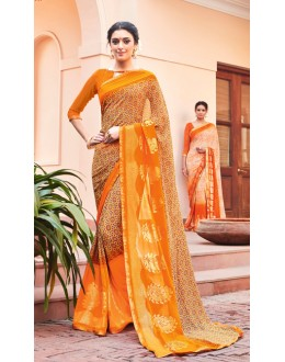 Ethnic Wear Orange Georgette Saree - EMERALD-30105