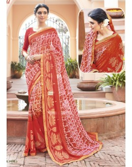 Casual Wear Red Georgette Saree - EMERALD-30106