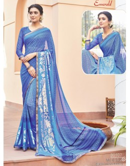Ethnic Wear Blue Georgette Saree - EMERALD-30107