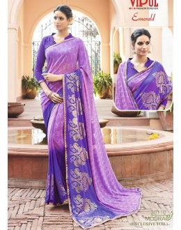 Party Wear Purple Georgette Saree - EMERALD-30110