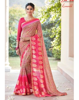 Ethnic Wear Pink Georgette Saree - EMERALD-30111