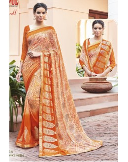 Party Wear Orange Georgette Saree - EMERALD-30112