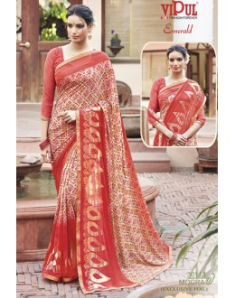 Casual Wear Red Georgette Saree - EMERALD-30113