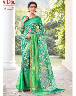 Casual Wear Green Georgette Saree - EMERALD-30114