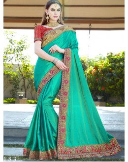 Festival Wear Rama Green Saree  - GT-MAREEYA-183