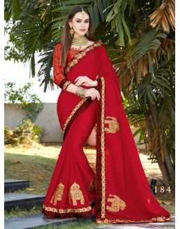 Party Wear Red Moss Chiffon Saree  - GT-MAREEYA-184
