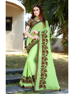 Marble Georgette Light Green Saree  - GT-MAREEYA-188