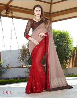 Georgette Multi-Colour Half & Half Saree  - GT-MAREEYA-192
