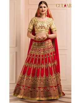 Wedding Wear Red & Beige Shine Art Silk Lehenga Choli - L-12
