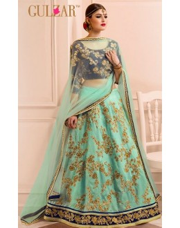 Designer Sea Green & Blue Shine Art Silk Lehenga Choli - L-13
