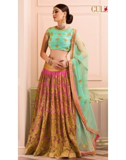 Bridal Wear Pink & Sea Green Net Lehenga Choli - L-14