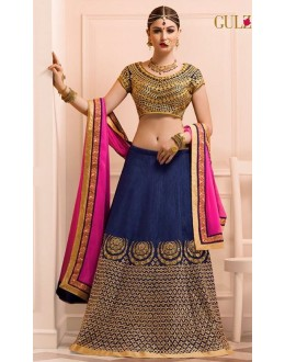 Ethnic Wear Blue & Pink Art Silk Lehenga Choli - L-16