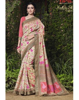 Ethnic Wear Beige Salem Silk Saree - VIPUL-30326