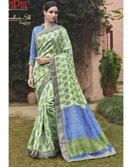 Ethnic Wear Green Salem Silk Saree - VIPUL-30333
